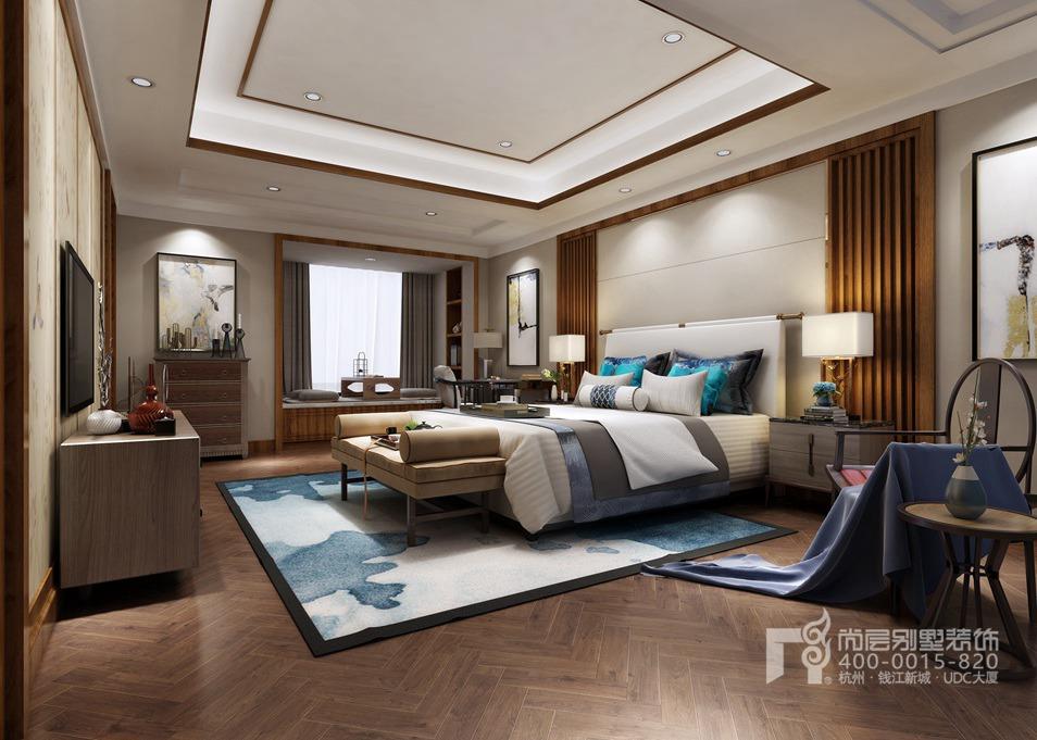 别墅卧室新中式风格装修设计效果图