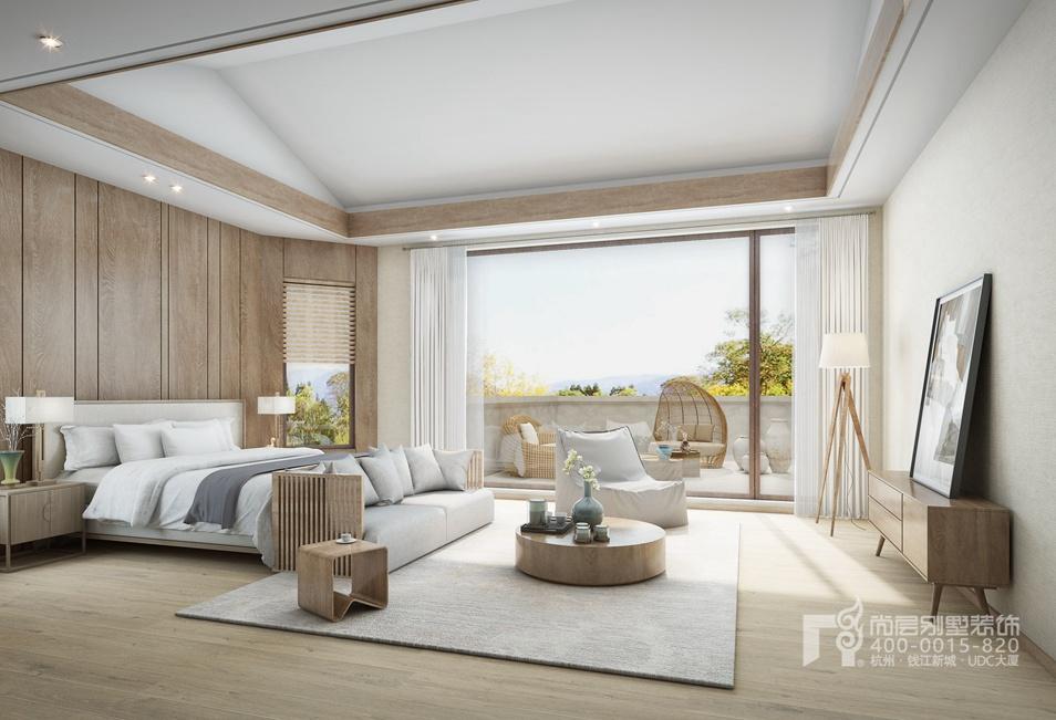 别墅卧室自然主义风格装修设计效果图