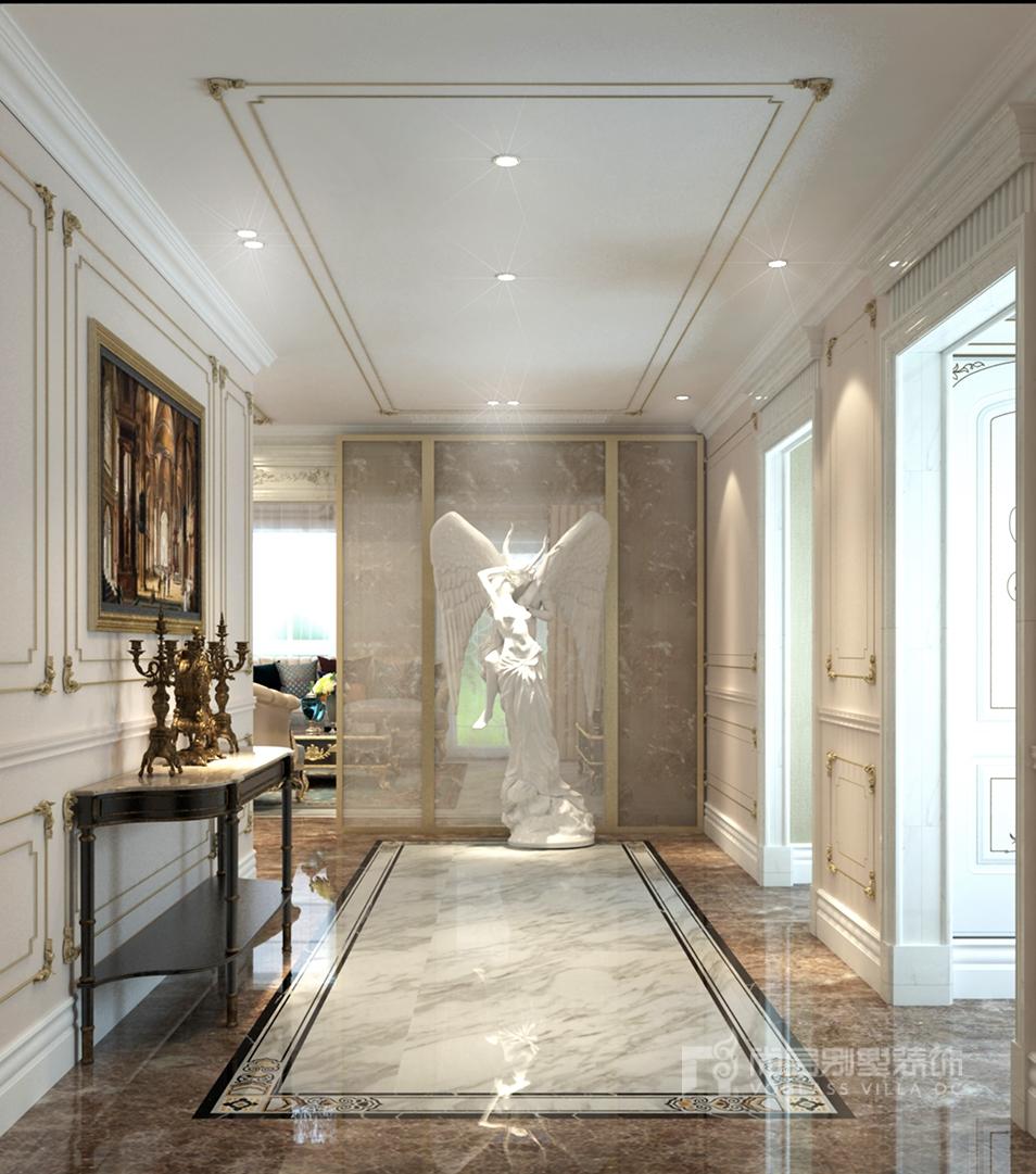 咖色的大理石环绕着以白色为主带黑线条的拼花地砖,将法式风格的浪漫图片