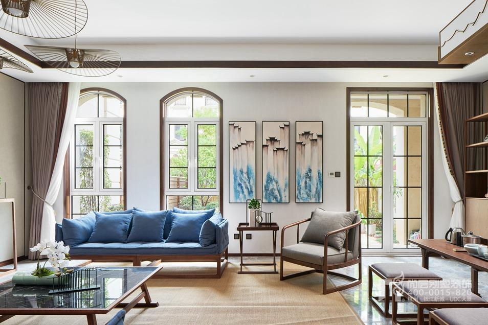 客厅新中式风格别墅装修设计样板房