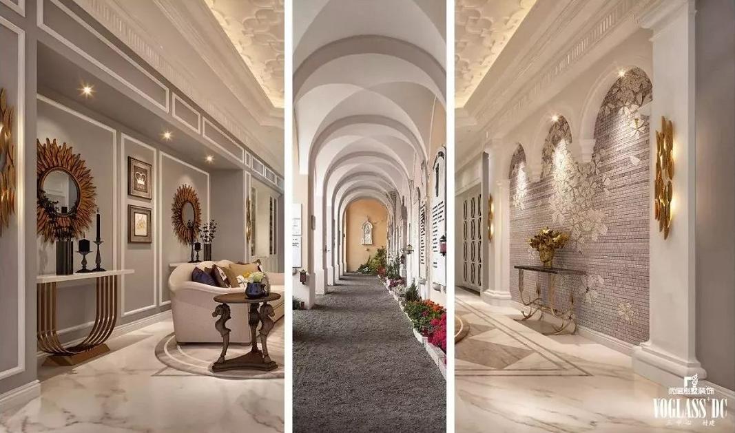 欧式宫殿走廊景深