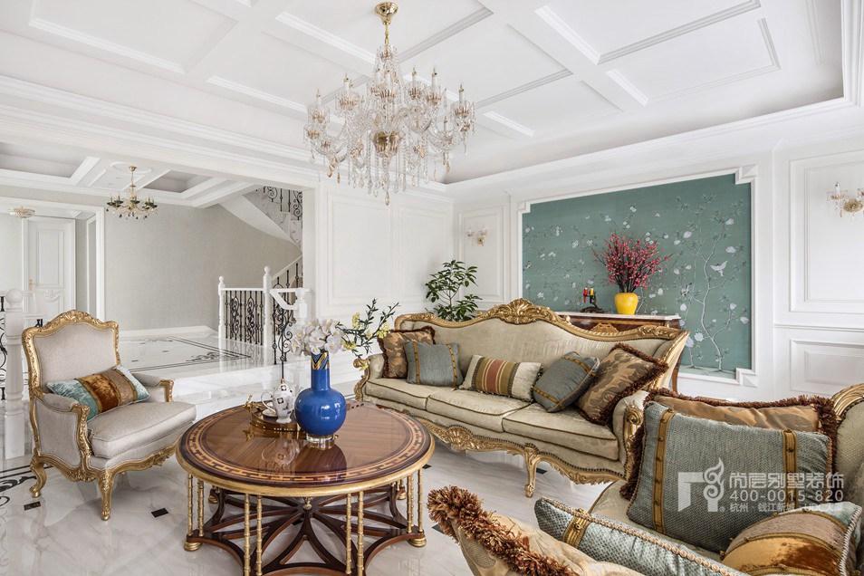 客厅现代法式风格别墅装修实景图