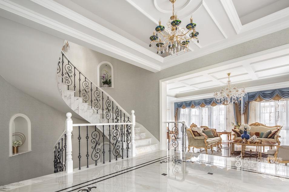 楼梯间现代法式风格别墅装修实景图