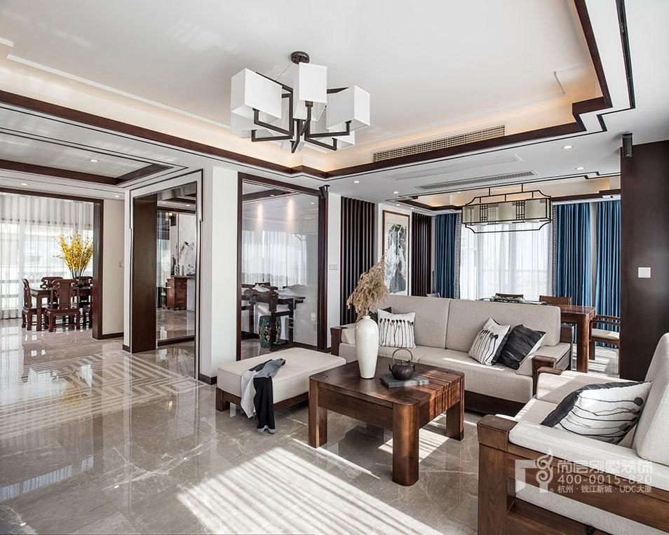 客厅新中式风格顶跃样板房装修设计