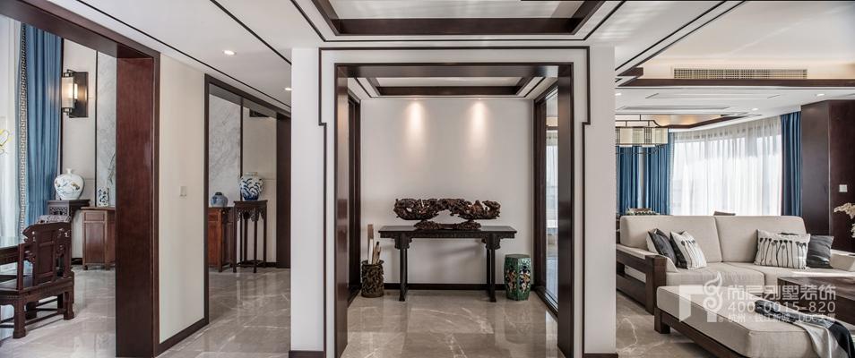 新中式风格顶跃样板房装修设计全景图