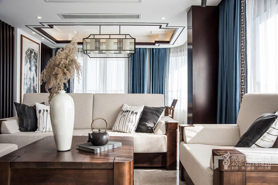 客厅细节新中式风格顶跃样板房装修设计