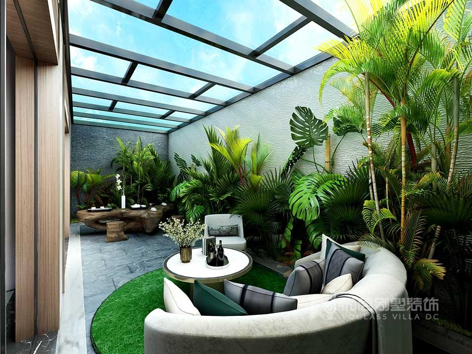 国际花园新中式风别墅装修_别墅装修设计案例_效果图