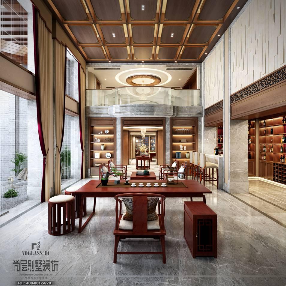 义乌玫瑰园别墅中式装修风格设计效果图