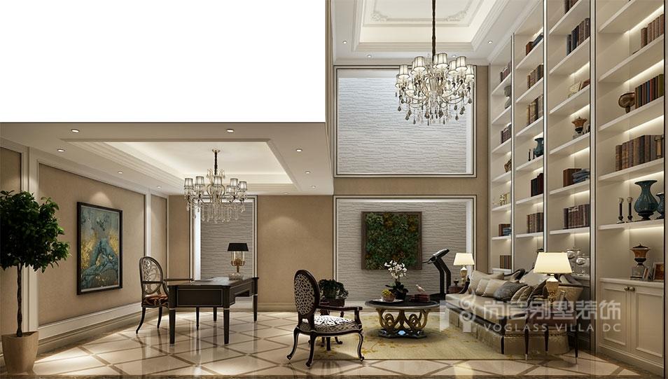 欧式家具的点缀,配上挑空层一面整墙的书柜.