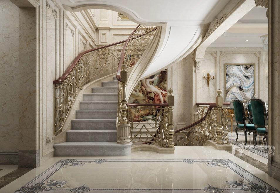 别墅玻璃扶梯雕花