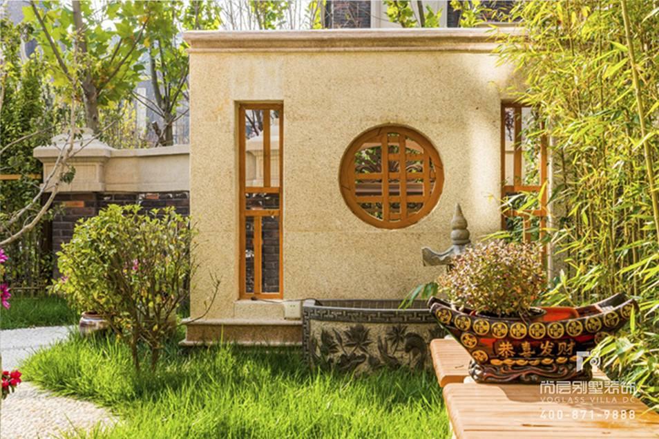 京基领墅新中式风格庭院实景图