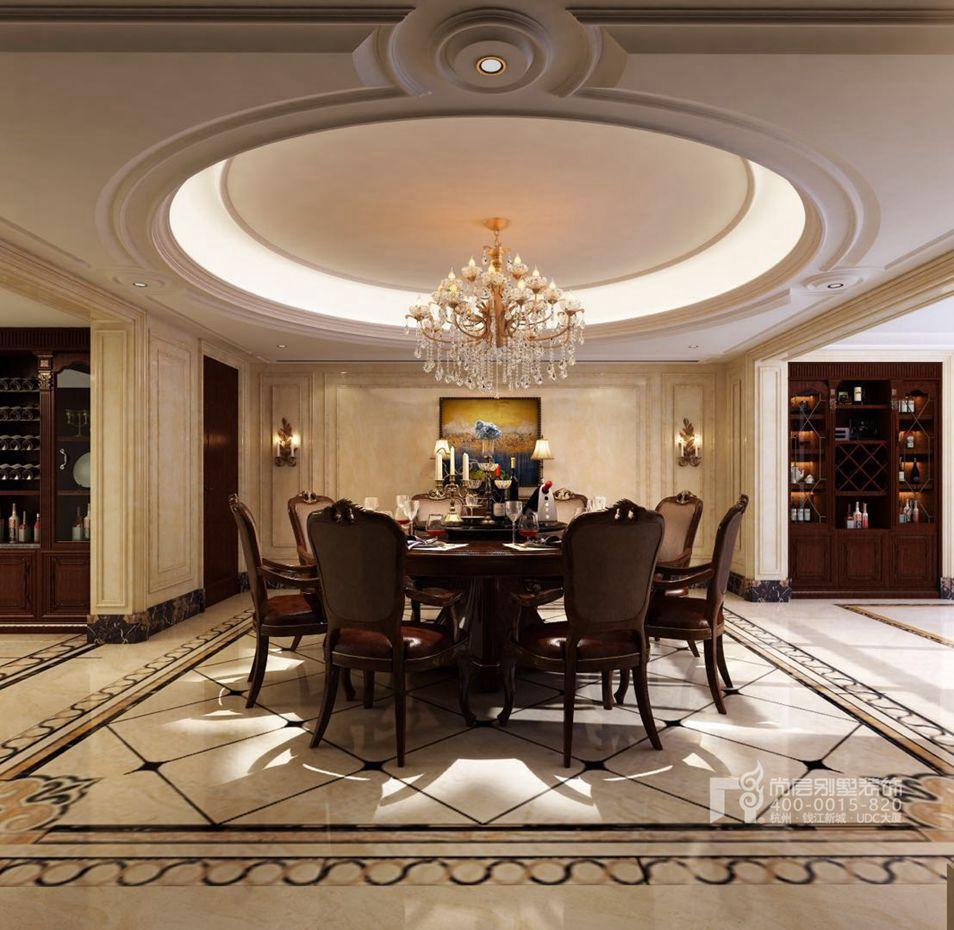 新古典别墅装修风格有众多的分支,新中式、欧式、美式风格都有各自的古典韵味。本案别墅装修设计师陈老师在唐郡项目中,既让我们看到了欧式古典建筑的圆形穹顶、拱形壁炉,又有美式古典风格的暗红色大面积铺陈的木质结构,空间典雅韵味十足。卧室空间更是点缀新中式风格的花枝图作为背景,混搭的新古典极具美感。