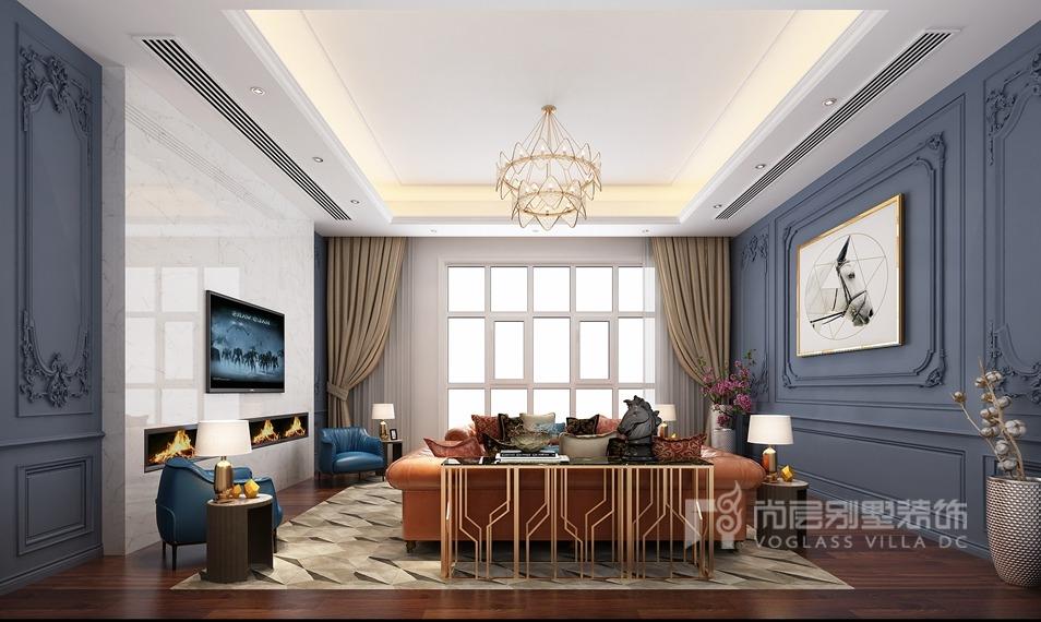 誉天下别墅装修设计效果图-客厅