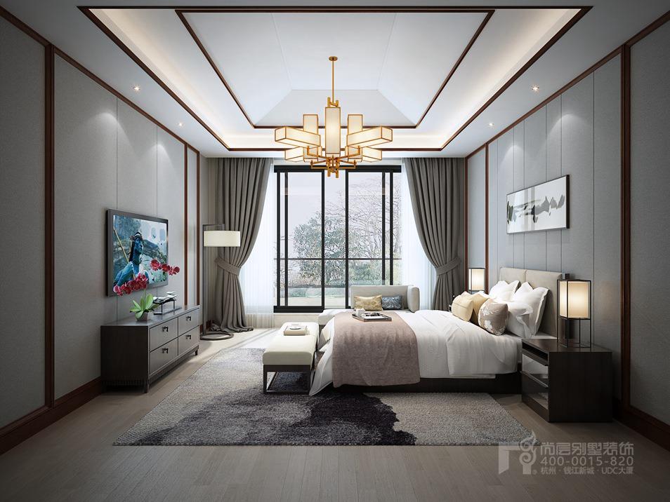450方新中式风格别墅装修设计效果图-杭州尚层装饰