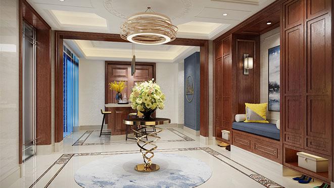 之江九里500平方新中式风格别墅装修设计效果图_杭州尚层装饰
