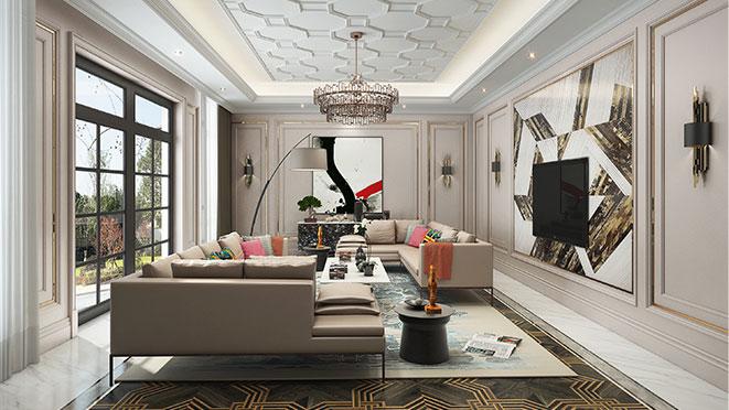 之江九里排屋530平米现代美式风格别墅装修效果图_杭州尚层装饰