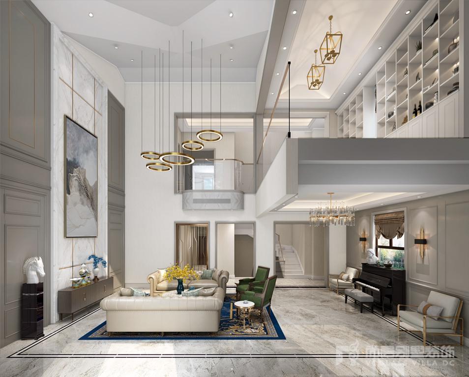 由于客廳采光良好,因此在別墅裝修設計方案中采用了奶油灰色的墻板