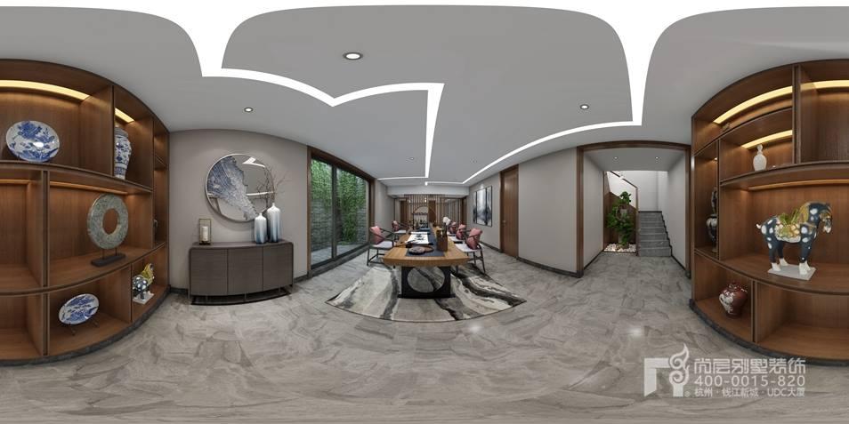 由台阶向上,是开放式的餐厅空间,在空间之中衔接客厅、厨房,背倚楼梯间,整个视野是非常开阔的。正因为空间的开阔感,别墅装修设计师沈老师因此在装点上加入了很多自然元素,在空间之中油然而生亲切的自然感。 木质的背景墙上,红色的鱼儿十分灵动,餐桌椅的选择也对复古家具做了自然风格的改良,在木质结构的背面更是加入网格格纹,像是花园般的自在。