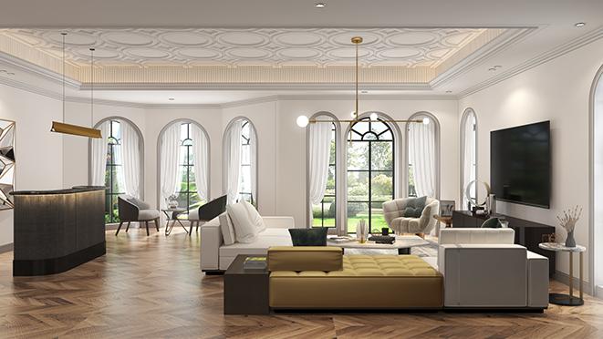华顺别墅420平米现代法式别墅装修风格