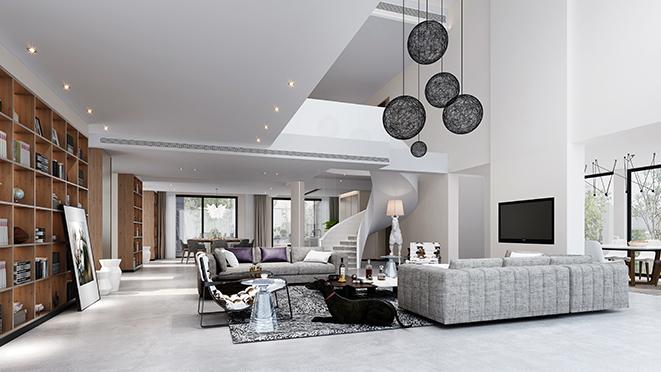 圆梦园现代风格500平米别墅效果图