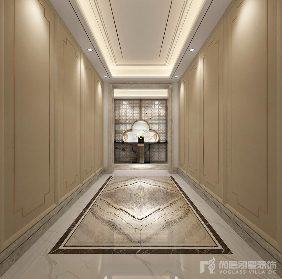 该独栋别墅装修设计以新中式为主,石材和金色的点缀不仅让新中式