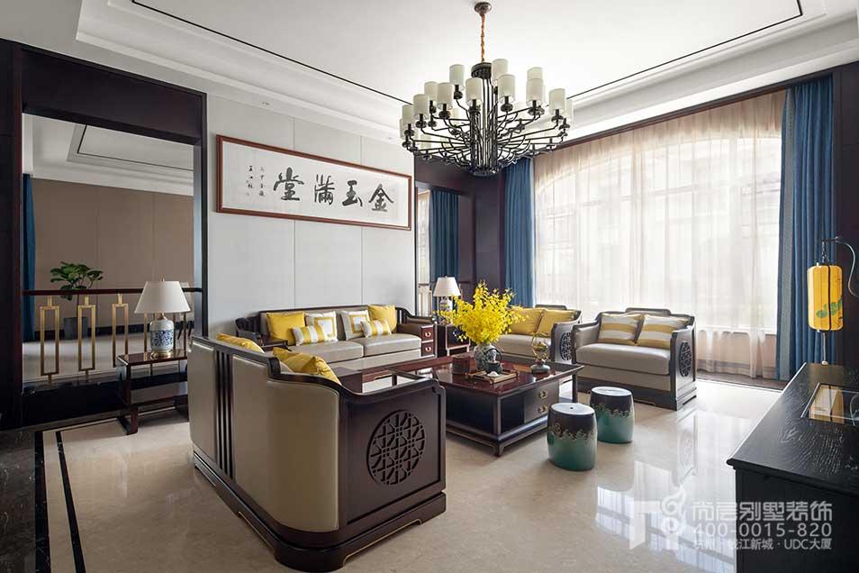 中式风格别墅装修,中式风格装修设计,千方别墅装修,杭州尚层装饰
