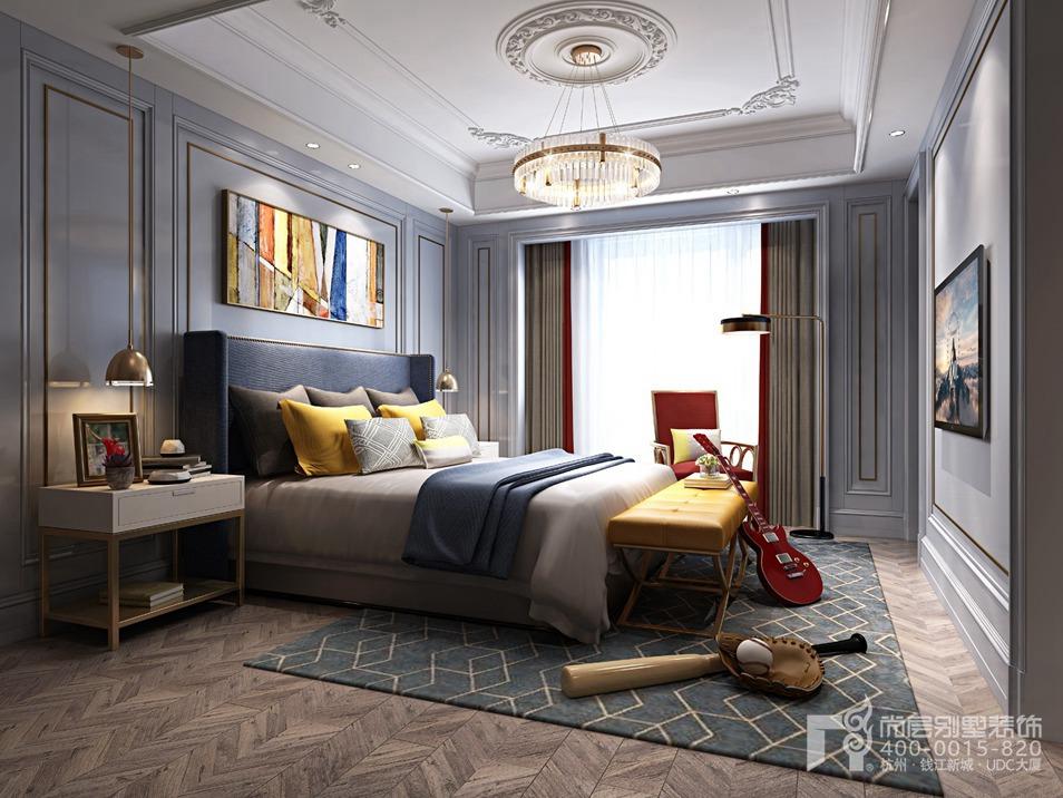 杭州装修百科 杭州香山别墅欧式风格别墅装修效果图       在卧室的