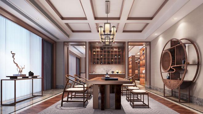 新中式的别墅设计效果图