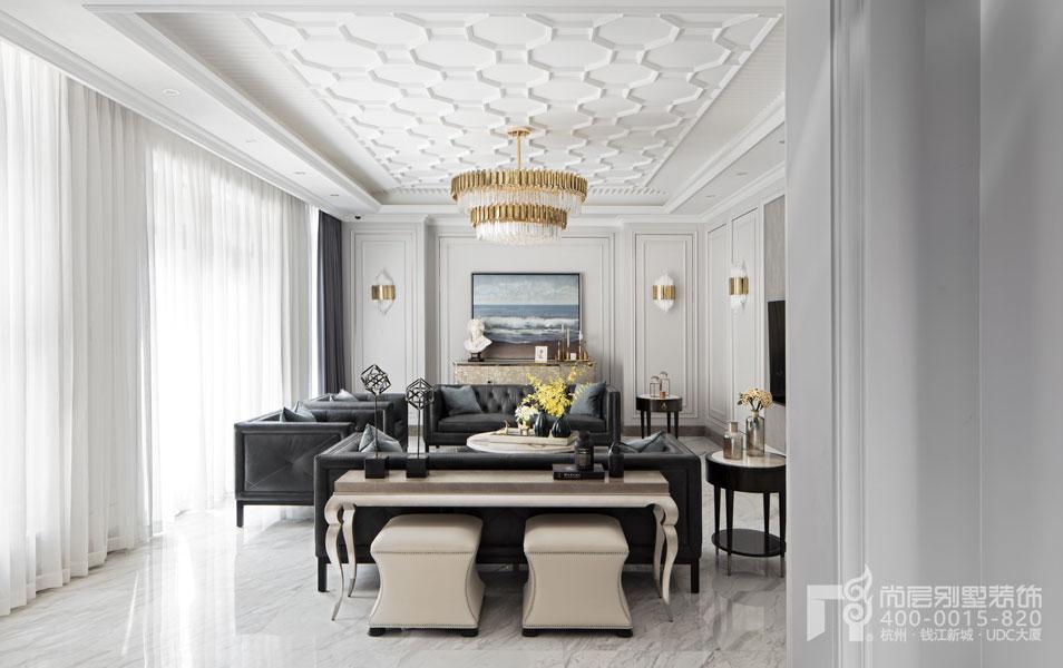 现代美式风格别墅客厅实景图