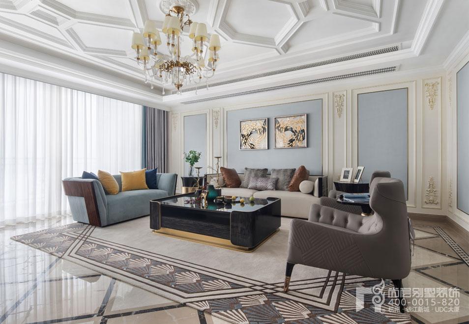 现代法式风格客厅实景图