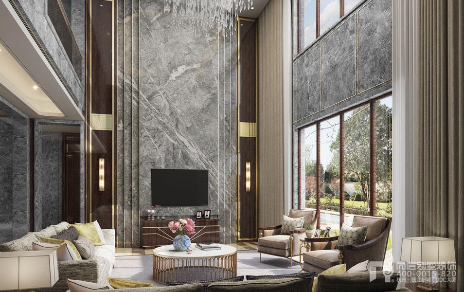 杭州新中式客厅电视背景墙室内设计案例图片