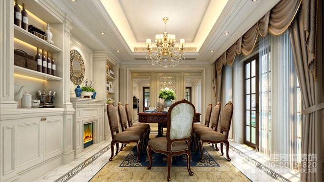 简欧风格简约华贵,与欧式风格一样主张生活的仪式感,从图中可以看出,两排座椅、壁炉燃燃、酒柜的设计,似乎时刻准备宴请远道而来的并宾客。可得出简欧别墅装修设计中透露着浓郁的生活温情。 简欧风格,顾名思义,是简化的欧式风格,事实上,简欧风格有着偏向于追求人与自然亲近与融洽的特点,这与我们当下渴望回归自然的想法不谋而合,从舒适感与心理感受方面,这种风格的设计可以带给人美好的感受。