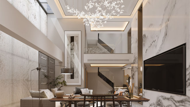 350方新中式风格排屋装修