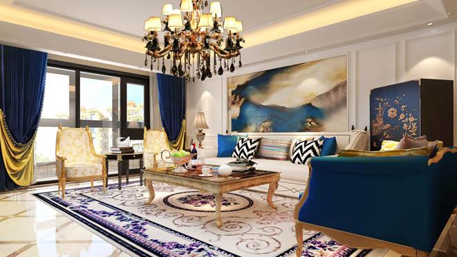 万科如园美式风格客厅别墅装修效果图
