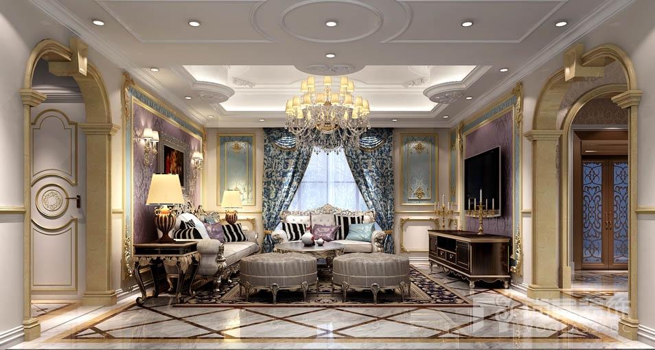 珍珠色雕花墙板和淡灰色金箔顶面散发出有别于传统欧式的特殊气息