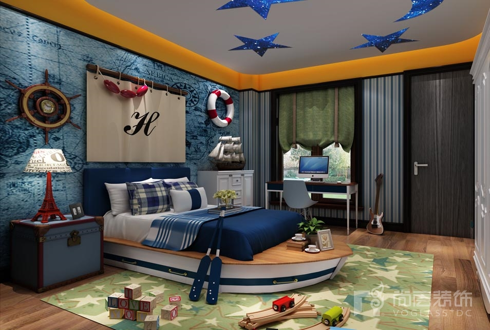 远洋天著新中式儿童房别墅装修效果图