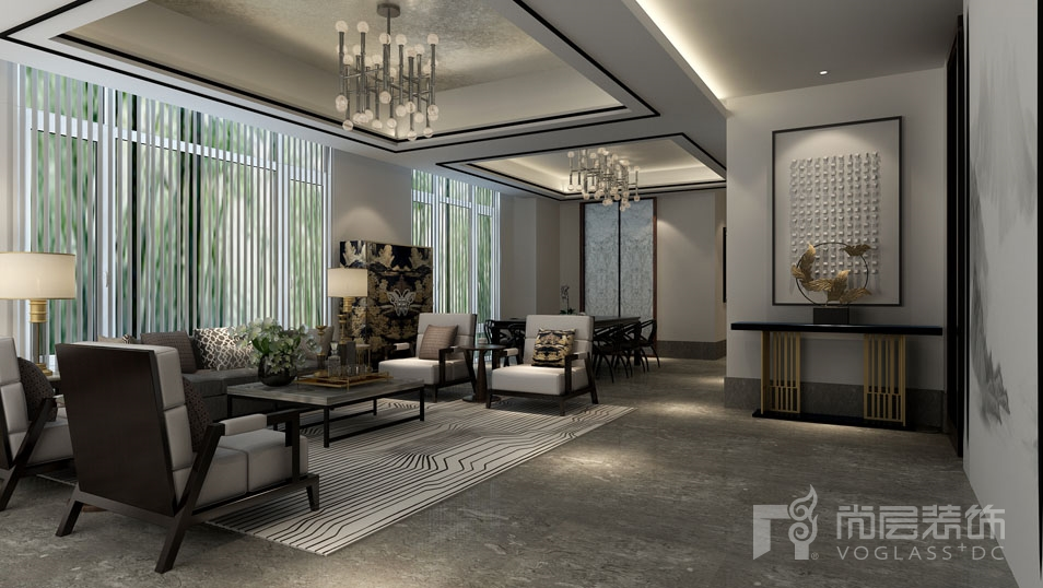 本别墅装修案例是尚层装饰设计师李娜的北京院子项目,采用新中式风格设计,在别墅装修中设计师主要是使用现代的材料及工艺来表现中国传统元素的手法。强调中国传统美学形的简素美,不采用过多的装饰技巧,体现出淡雅的文化气质,给人一种悠远、宁静的文化韵味。