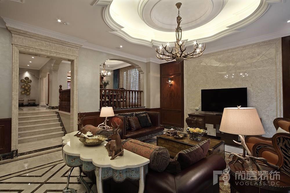 大华西溪风情别墅装修案例-欧式古典风格-客厅-杭州尚层装饰