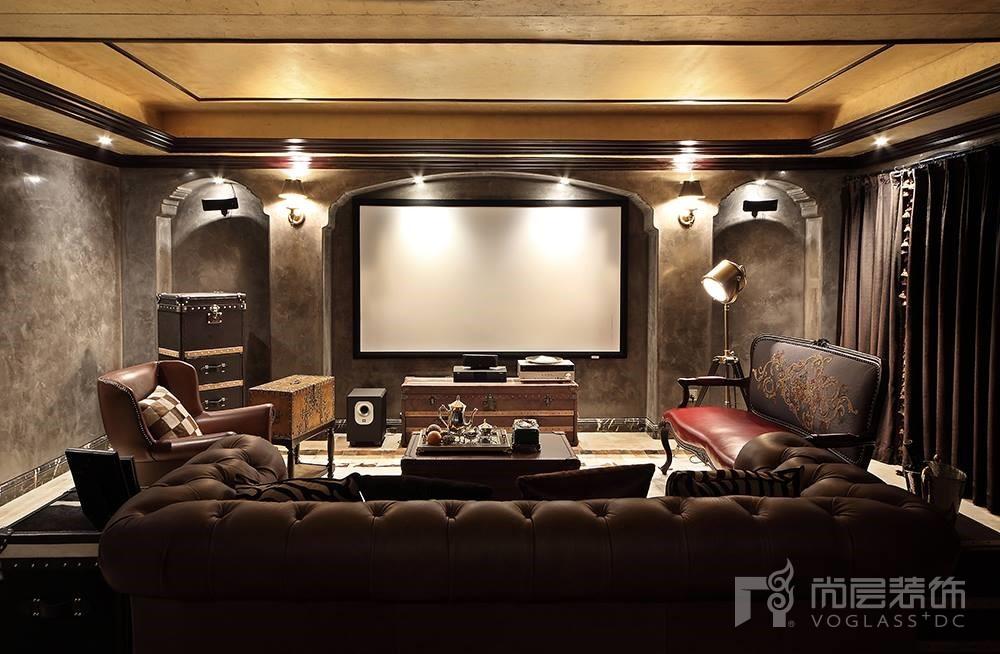 大华西溪风情别墅装修案例-欧式古典风格-影音室-杭州尚层装饰