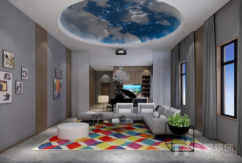 金科王府美式混搭别墅地下室装修实景图图片