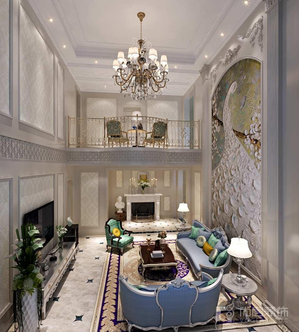鲁能七号院法式客厅别墅装修效果图