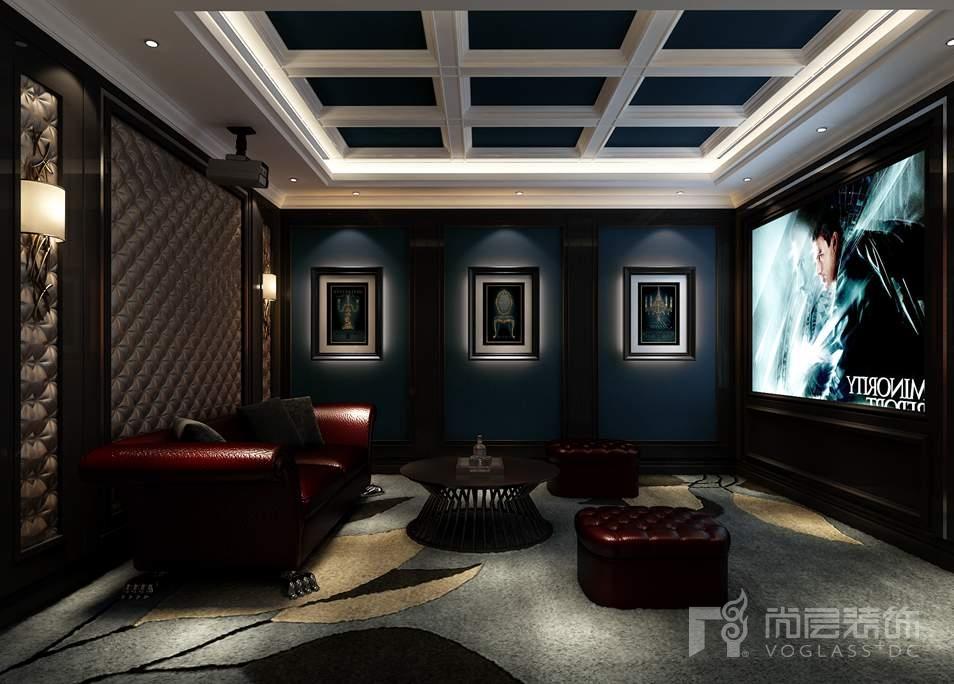 影音室的设计区别与其他空间,其整体的色彩与灯光都变得有些