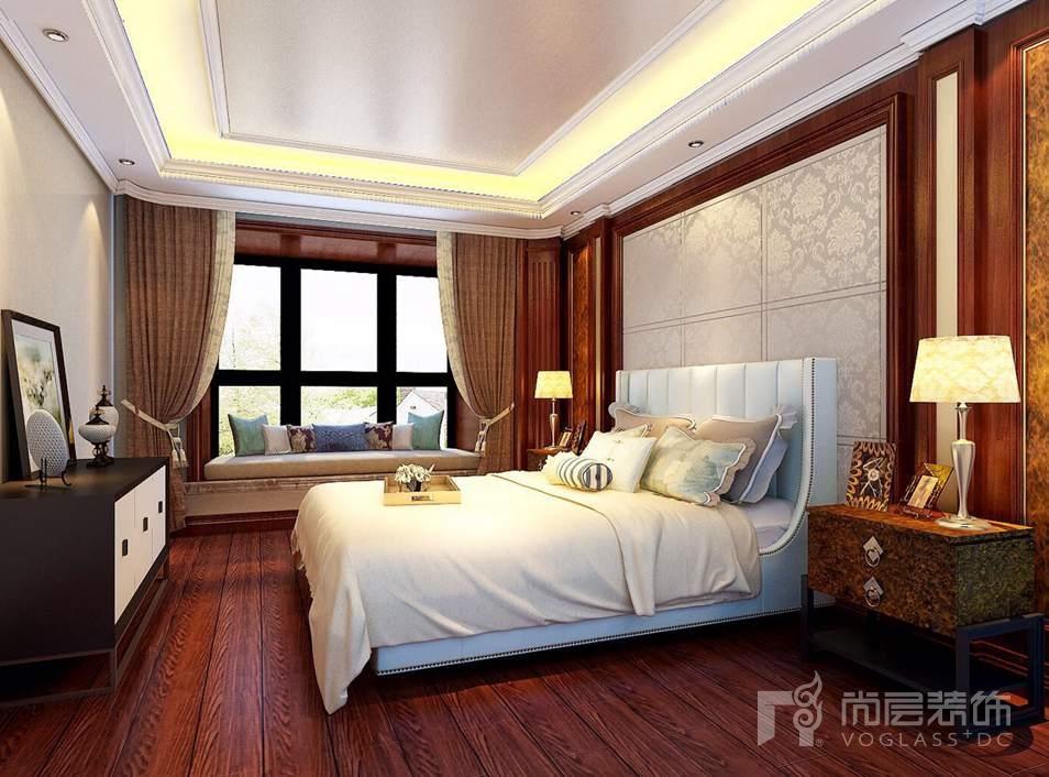 泛海国际现代美式主卧别墅装修效果图图片