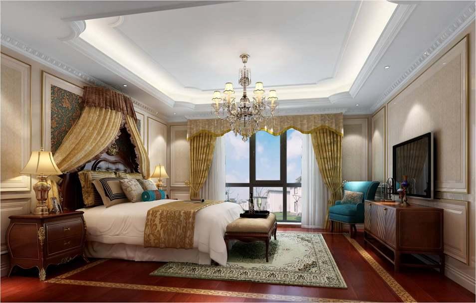 千章墅美式新古典卧室别墅装修效果图图片
