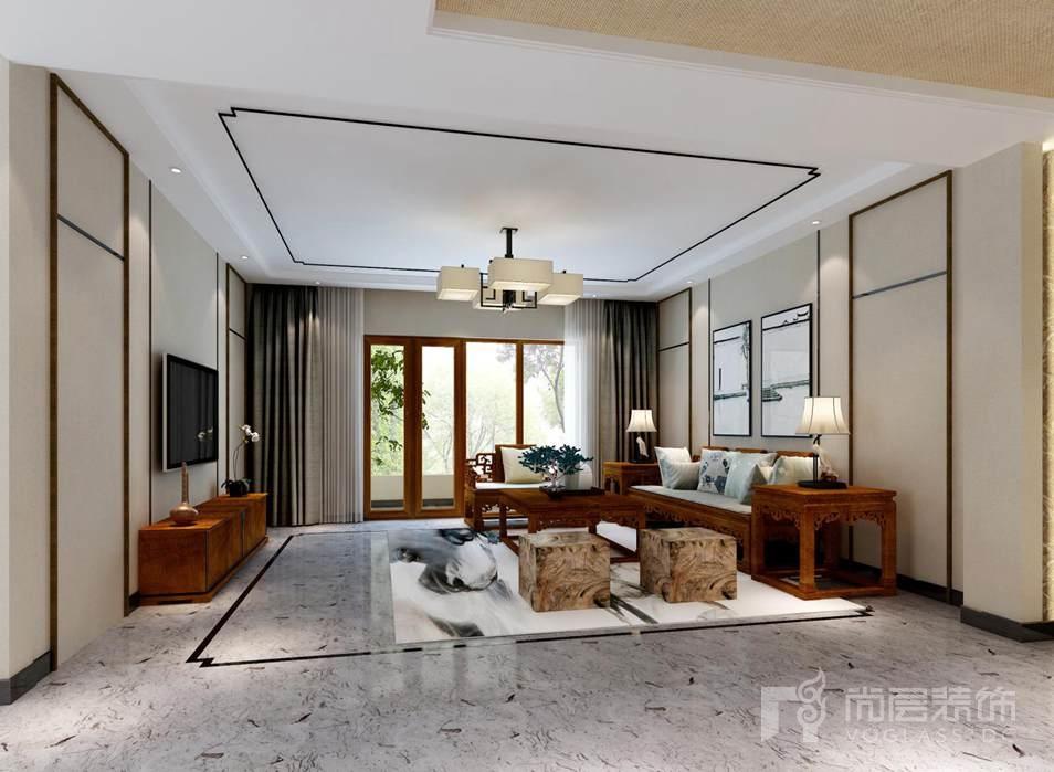 本案 千章墅别墅装修 设计采用新中式风格,空间配色上轻松自然,将水景