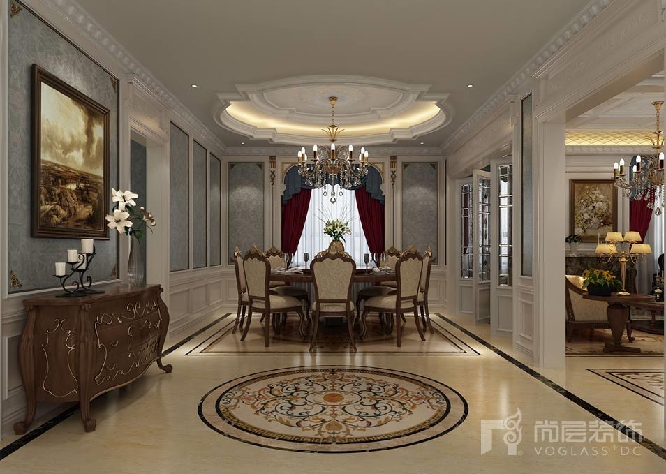 别墅客厅吊顶角花设计