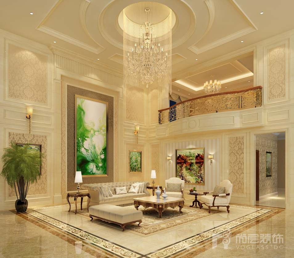 香山清琴欧式客厅别墅装修效果图