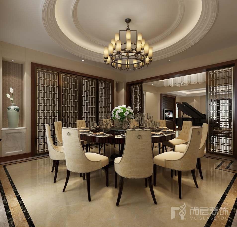 溪悦澜墅新中式餐厅别墅装修效果图图片