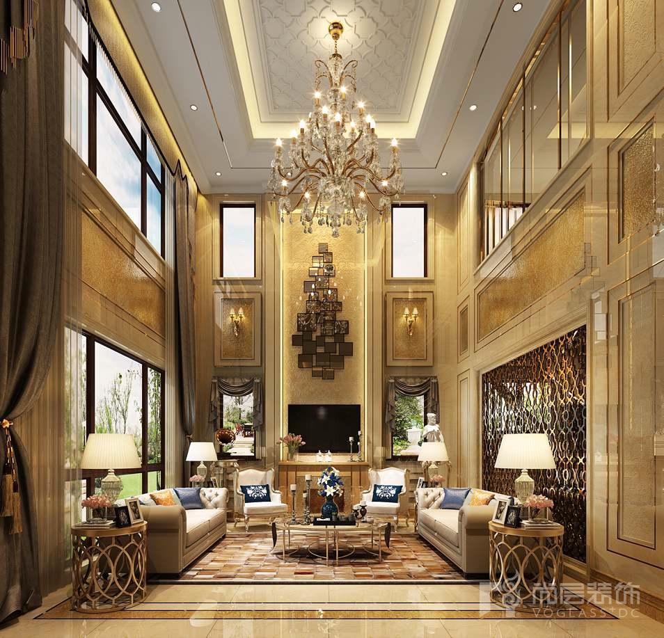 润泽御府现代法式客厅别墅装修效果图
