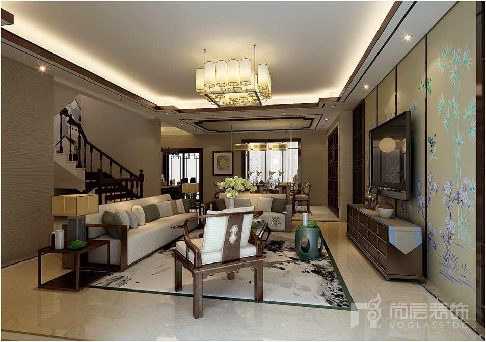 餐厅摒弃古典的繁琐,运用简洁明亮的线条,实木方形垭口,定制的仿古酒柜,耐人寻味的空间蕴藏丰富的内涵,也将新中式别墅装修设计理念表现的淋漓尽致。